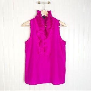 Hot pink Jcrew sleeveless blouse ruffle silk 8